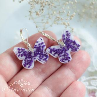 Сережки метелики • фиолетовые серьги бабочки