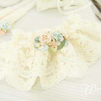 Подвязка невесты голубая / Блакитна підв'язка для нареченої / Персикова підв'язка / Персиковая