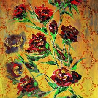 """""""Розы на золотом """" живопись маслом 70х50см розы мастихином"""