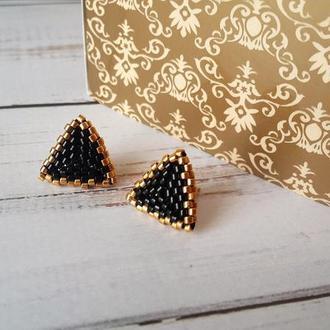 Серьги-гвоздики Black&Gold