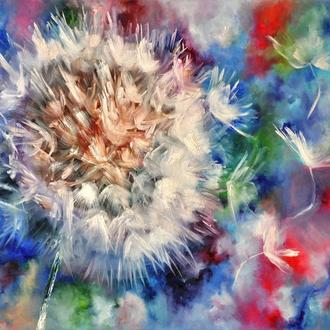«Летний ветерок», картина маслом, 60х80см, одуванчик