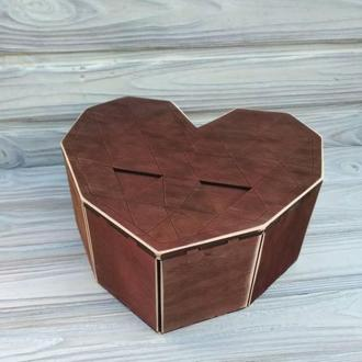 Деревянная подарочная коробка сердце, оригинальная упаковка, бокc, деревянная подарочная упаковка