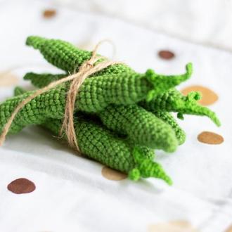 Фасоль стручковая, 1 шт вязаная игрушка крючком, вязаная еда, вязаный овощ