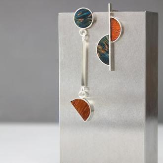 Асиметричні срібні сережки з деревом