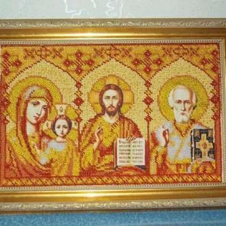 Вышитая бисером икона Триптих (в рамке)