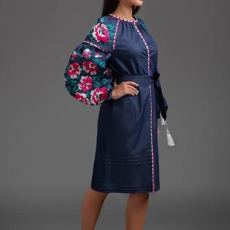 """Дизайнерська вишита сукня """"Трояндовий букет"""" 00117"""