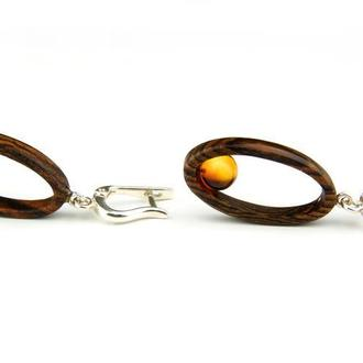 Серьги  с натуральным янтарем и деревом Бокоте