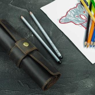 Кожаный Ролл Кейс для карандашей. С кнопкой.