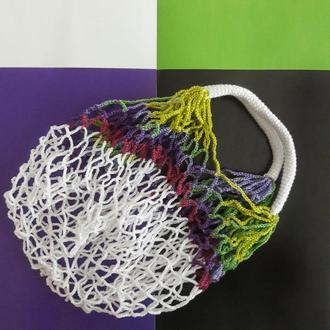 Авоська белый - переходы из фиолетового в зеленый, экосумка, сумка для покупок