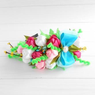 Венок с тюльпанами на весенний утренник женщине Обруч на голову девушке Ободок с цветами на 8 марта