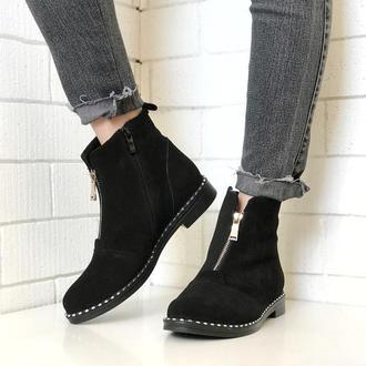 Ботинки из натурального замша, замш, черные, замок , 36-40
