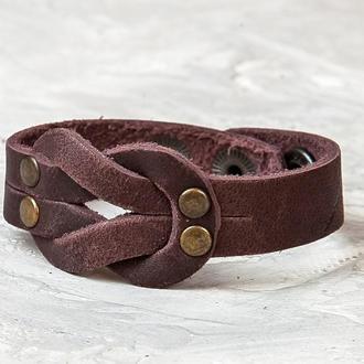 Кожаный браслет - коричневый узел код 3760