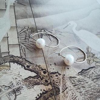 Стильные серебрянные сережки с речным жемчугом ручной работы