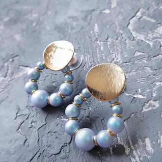 """Сережки з Swarovski перлами """"Вісімка"""" подарунок на 8 березня подарок жене девушке серьги 8 марта"""