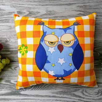 Подушка голубая сова 2, 31 см * 29 см
