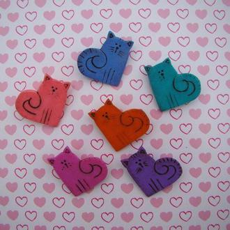 Брошь валентинка сердечный котик