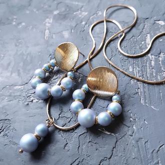Комплект з перлів  Swarovski  сережки і кулон на ланцюжку комплект украшений из жемчуга подарок жене