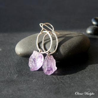 Серебряные серьги с аметистом,  серебряные серьги с камнями, подарок женщине