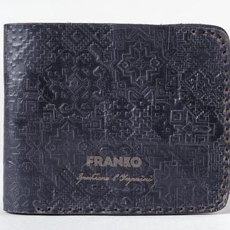 Портмоне чорне шкіряне з українським орнаментом Франко | Franko pattern big black wallet