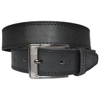 Lord кожаный мужской ремень черный пояс классический простроченный со строчкой для джинсов