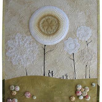 """Панно настенное """"Цветущий сад"""" пэчворк мозаика текстиль"""