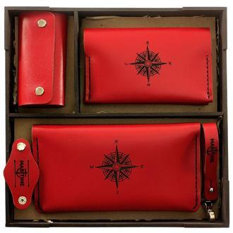 Подарочный набор для девушки - Красный (Женский набор аксессуаров: Портмоне + Обложка для паспорта )