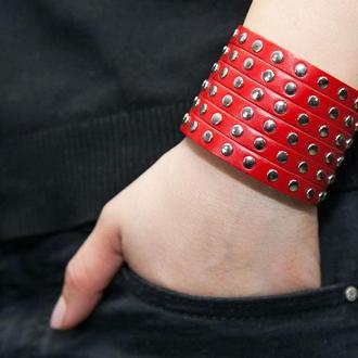 Красный металлический кожаный браслет код 4600
