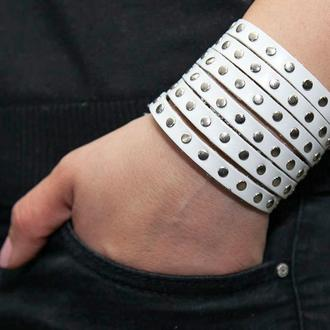 Белый металлический кожаный браслет код 4600