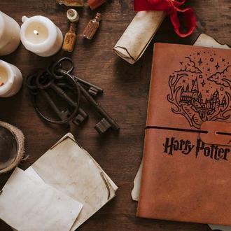 Блокнот из кожи, Гарри Поттер, Хогвартс, Записная книжка, Скетчбук, Блокнот с гравировкой