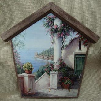 Ключница домик настенная декоративная в прихожую Средиземноморский пейзаж Ключница на стену