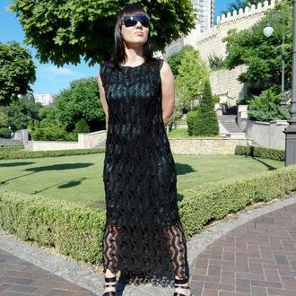 Вечернее платье вязаное на вилке