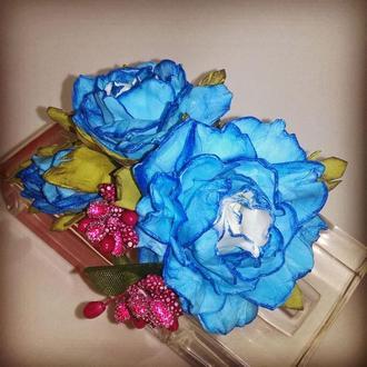 Заколка для волос ручной работы голубого цвета