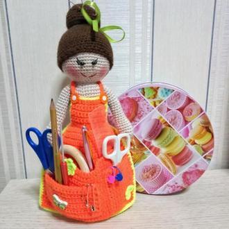 Кукла вязаная,кукла рукодельница,кукла на подарок