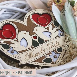 """Именная деревянная свадебная подставка/подушка для обручальных колец """"Птички"""" + Подарок"""