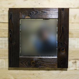 Зеркало с рамой обработанной огнём