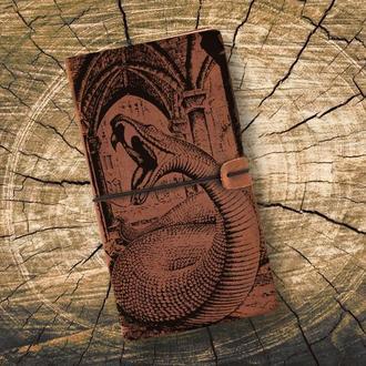 Блокнот из кожи, Гарри Поттер, Нагайна, Змея, Записная книжка, Скетчбук, Блокнот с гравировкой