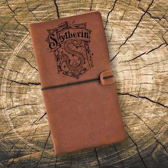 Блокнот из кожи, Гарри Поттер, Слизерин, Записная книжка, Скетчбук, Блокнот с гравировкой