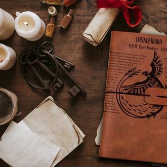 Блокнот из кожи, Фантастические твари, Записная книжка, Скетчбук, Блокнот с гравировкой, Подарок