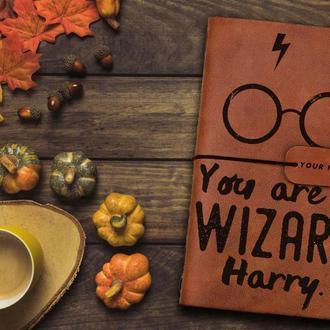 Блокнот из кожи, Гарри Поттер, Записная книжка, Скетчбук, Блокнот с гравировкой, Подарок парню
