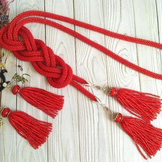 """Набор лариат и сережки """"Красный"""""""