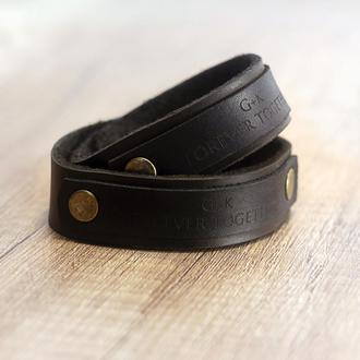 Парные кожаные браслеты с персональной гравировкой - Стильный и уникальный подарок