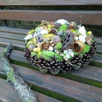 Осенняя композиция на праздничный стол, натуральный декор дома, композиция из шишек