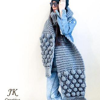 Длинный шарф из толстой шерстяной пряжи