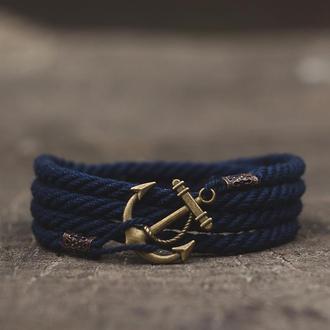 Браслет с якорем Marine Rope (Мужской, женский, много цветов)