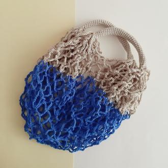 Авоська синяя с бежевым, экосумка, сумка для покупок