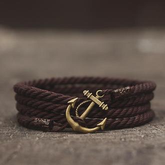Мужской браслет с якорем MARINE ROPE - коричневый  Стильный подарок