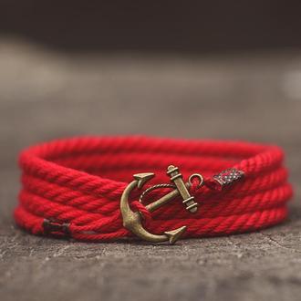Красный браслет с якорем MARINE ROPE (Браслет на руку) - Стильный подарок мужчине или девушке