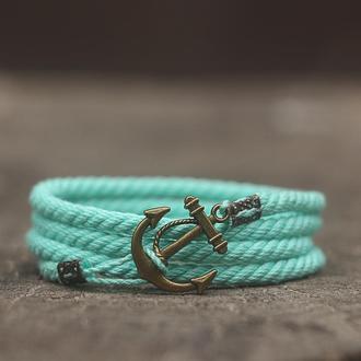 Женский браслет на руку MARINE ROPE - мятный (Браслет с якорем). Стильный подарок девушке
