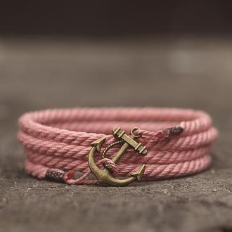 Женский браслет на руку MARINE ROPE - розовый (Браслет с якорем). Стильный подарок девушке