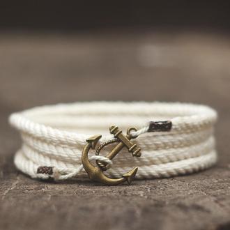 Морской браслет с якорем MARINE ROPE - белый. (Браслет на руку) Стильный подарок мужчине или девушке